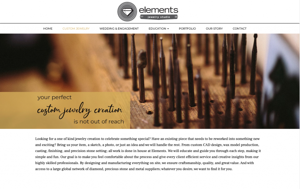 interior page example for elements jewelry studio