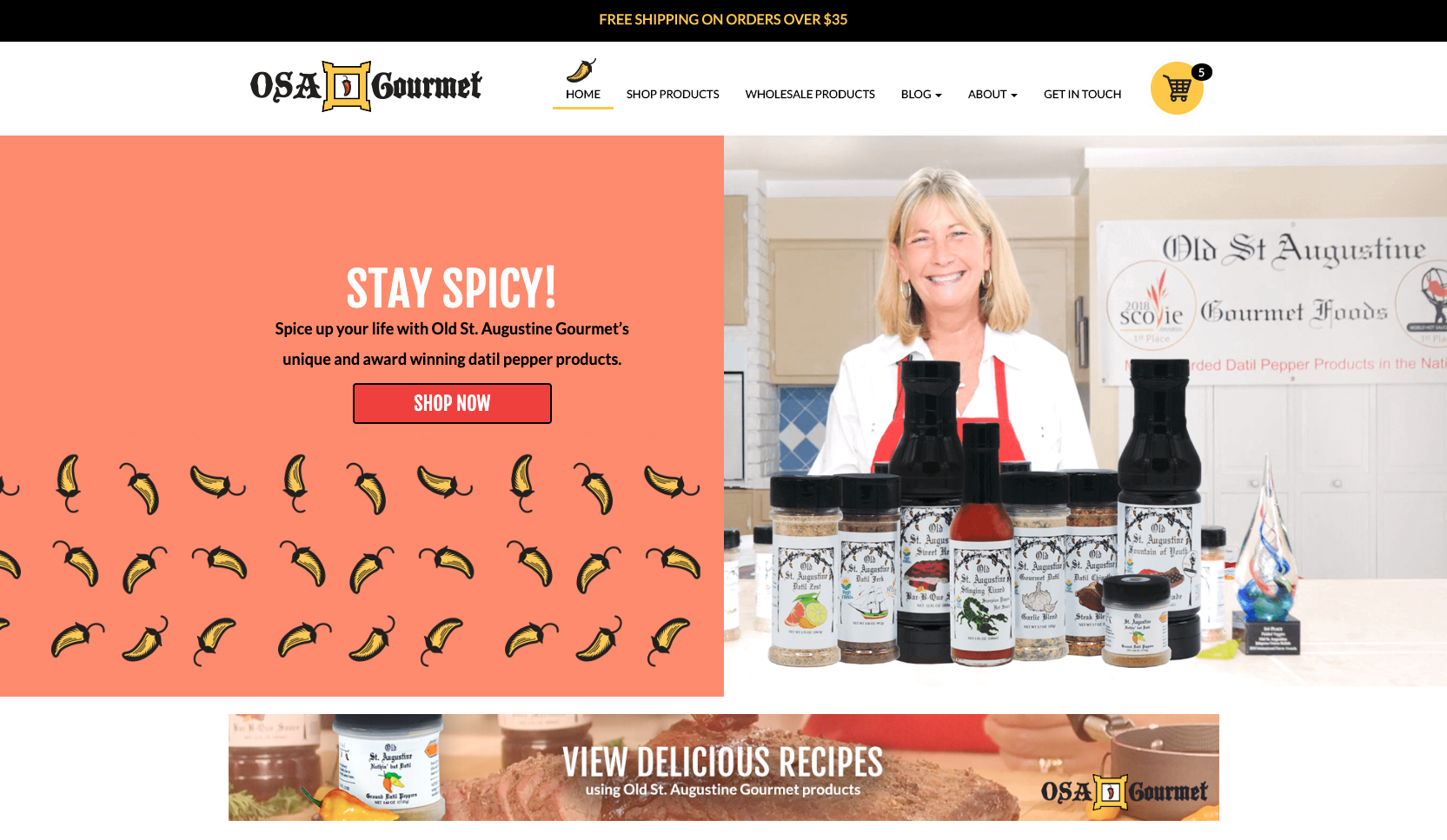 osa gourmet new ecommerce website