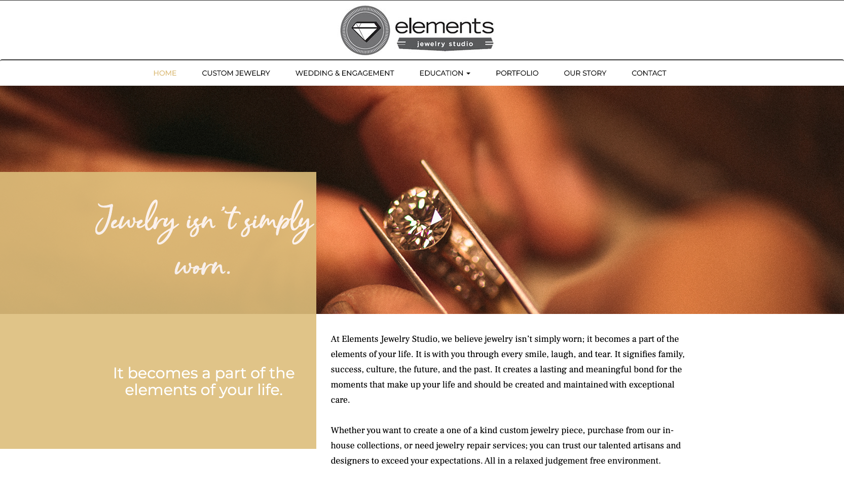 elements jewelry studio new website design