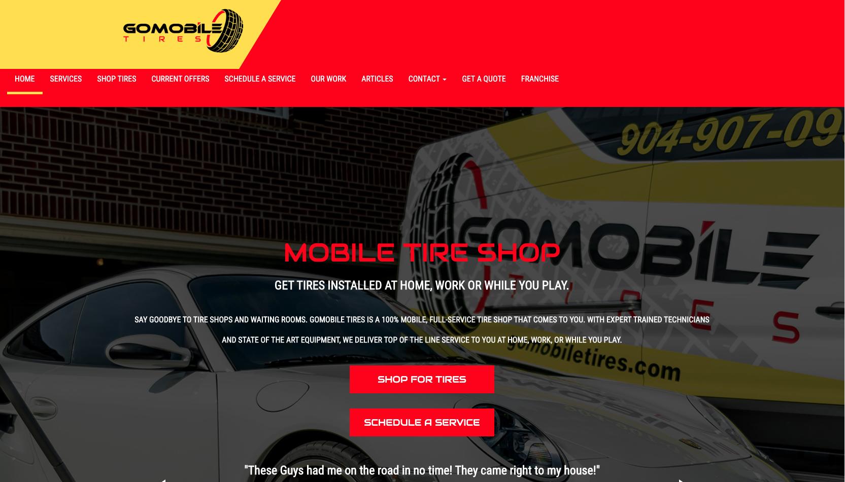 gomobile tires homepage