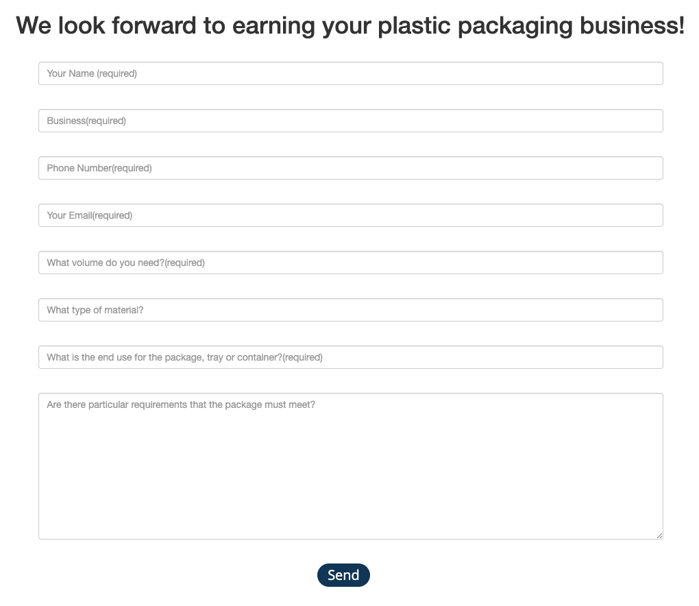 simple wholesale customer contact form