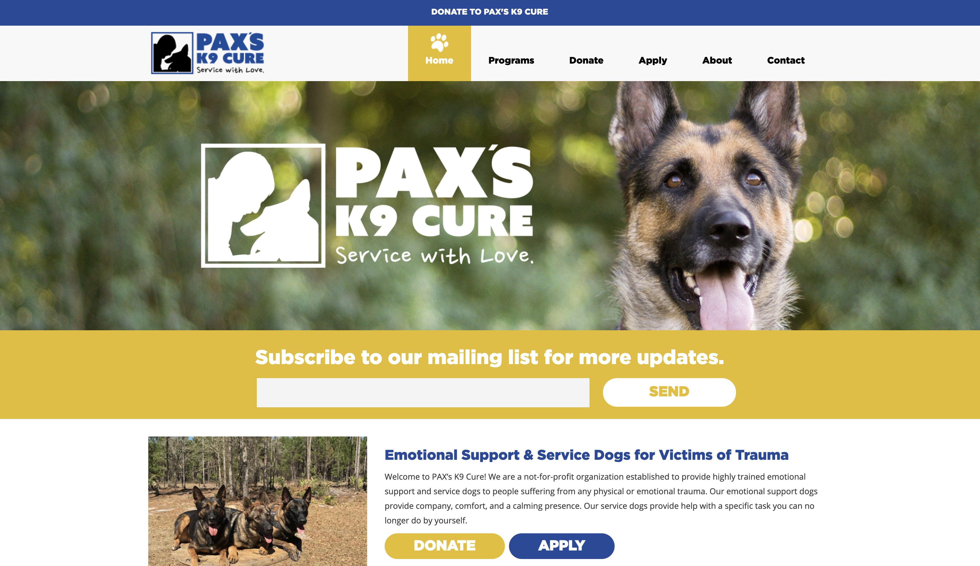 website design jacksonville fl paxs k9 cure